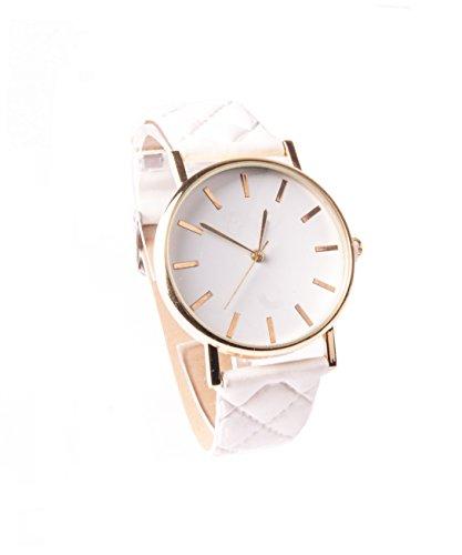 Weiss Gold Armbanduhr Uhr Vintage Lederarmbanduhr Kunstleder Schlicht