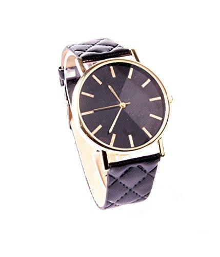 Schwarz Gold Armbanduhr Uhr Vintage Lederarmbanduhr Kunstleder Schlicht