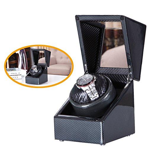 Carbon New Style Love Nest Einzel Premium Carbon Uhrenbeweger Klavierlack Reines handgemachtes mit Qualitaet japanischer Mabuchi Motor 5H Schwarz