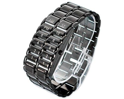 Karbonisierte Stahl LED Quarzuhr Metallband Uhr fuer Herren Maenner Schwarz