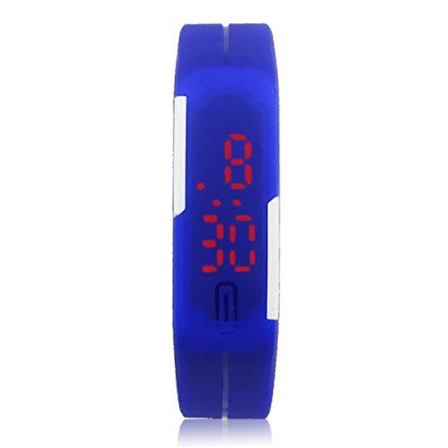Oyedens Neue Ultra DueNne MaeNner MaeDchen Sport Silikon Digitale Modische LED Sport Armbanduhr Blau