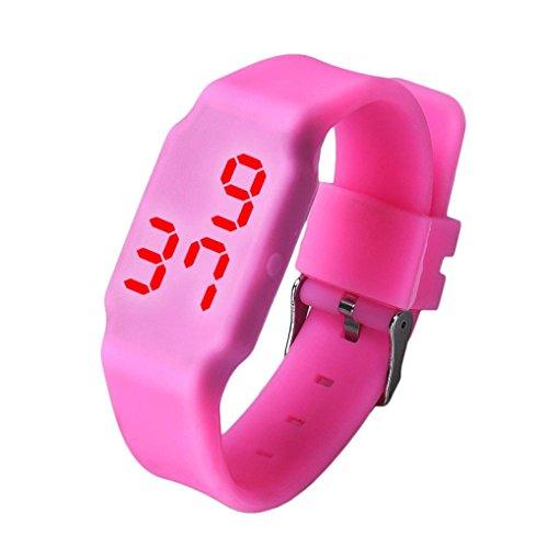 Oyedens Mode Silikon Digitale LED Sport Armbanduhr Rosa