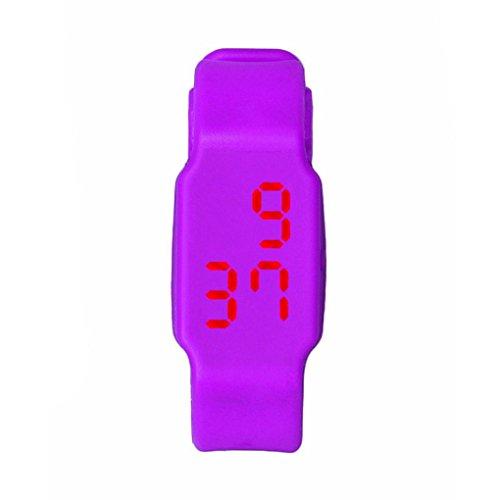Oyedens Mode Silikon Digitale LED Sport Armbanduhr Lila