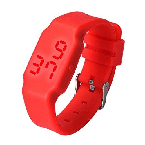 Oyedens Mode Silikon Digitale LED Sport Armbanduhr Rot