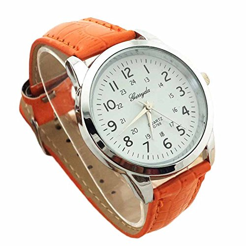 Oyedens Modische Uhr Oyedens Elegant Analoge Luxus Sportlederband FueR MaeNner Orange