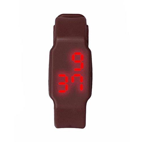 Oyedens Mode Silikon Digitale LED Sport Armbanduhr Braun