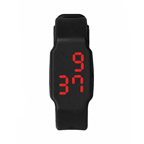 Oyedens Mode Silikon Digitale LED Sport Armbanduhr Schwarz