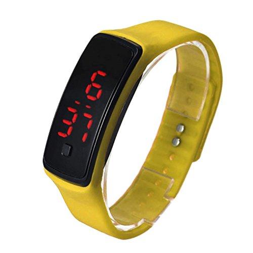 Oyedens UltradueNne MaeDchen MaeNner Sportsilikon Art Digital LED Sport Armbanduhr Gelb