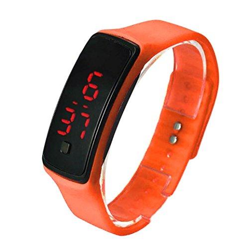 Oyedens UltradueNne MaeDchen MaeNner Sportsilikon Art Digital LED Sport Armbanduhr Orange