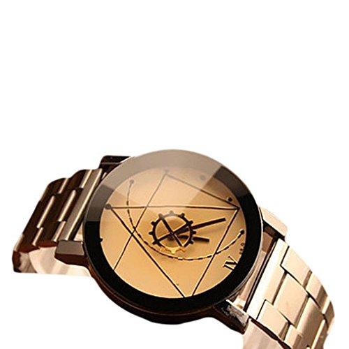 Mann Oyedens Art und Weiseuhr rostfreiem Quarz analoge Armbanduhr Stahl Maenner Weiss