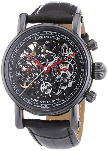 Chronoswiss 7545S Sirius Skelett Herren Automatik Uhr mit schwarzem Zifferblatt Chronograph Anzeige und schwarz Gurt