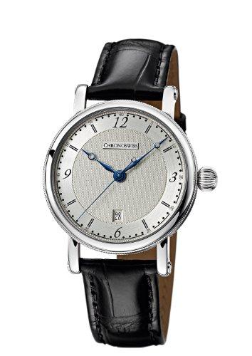 Chronoswiss Sirius Herren Automatik Uhr mit Silber Zifferblatt Analog Anzeige und schwarz Gurt 2843 1