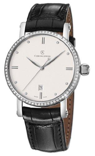 Chronoswiss Sirius Herren Automatik Uhr mit Silber Zifferblatt Analog Anzeige und schwarz Gurt 2893 1