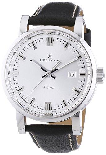Chronoswiss Pacific Herren Automatik Uhr mit Silber Zifferblatt Analog Anzeige und schwarz Gurt 2883b SI