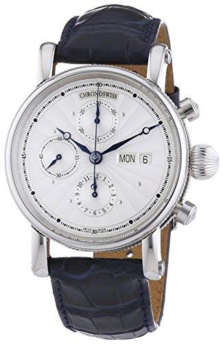 Chronoswiss Sirius Tag Datum Herren Automatik Uhr mit Silber Zifferblatt Chronograph Anzeige und schwarz Gurt 7543 Handlupe K