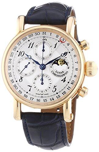 Chronoswiss Herren Sirius Chronograph Untergang Mechanische Uhr mit Silber Zifferblatt Chronograph Anzeige und Marineblau Gurt