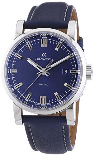 Chronoswiss Pacific Herren Automatik Uhr mit Blau Zifferblatt Analog Display und Blau Gurt 2883bl