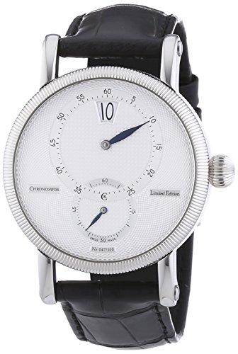 Chronoswiss Regulateur 30 Limited Edition Herren Automatik Uhr mit Silber Zifferblatt Analog Anzeige und schwarz Gurt 2813