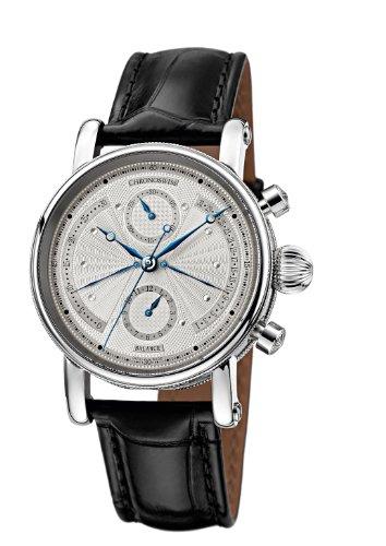 Chronoswiss Sirius Retrograde Herren Automatik Uhr mit Silber Zifferblatt Chronograph Anzeige und schwarz Gurt 7543b