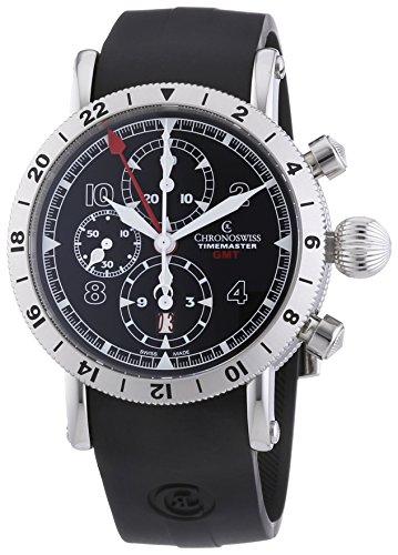 Chronoswiss TimeMaster GMT HERREN AUTOMATIK UHR mit schwarzem Zifferblatt Chronograph Anzeige und schwarz Gurt 7533 G st bk Reiben