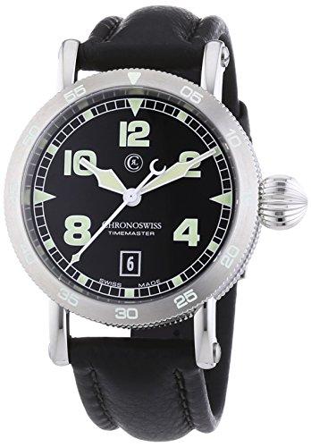 Chronoswiss TimeMaster Herren Automatik Uhr mit schwarzem Zifferblatt Analog Anzeige und schwarz Gurt 2853 1 st bk