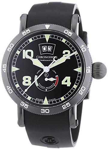 Chronoswiss TimeMaster Big Datum Herren Automatik Uhr mit schwarzem Zifferblatt Analog Anzeige und schwarz Gurt 3535