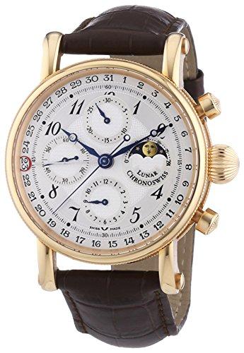 Chronoswiss 7541rl braun Herren Sirius Untergang Mechanische Uhr mit Silber Zifferblatt Chronograph Anzeige und braun Gurt