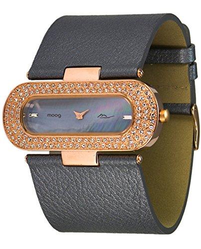 Moog Paris Glam Rosegold aus Messing Armband dunkelgrau aus Kalbsleder in Frankreich hergestellt M44088 004