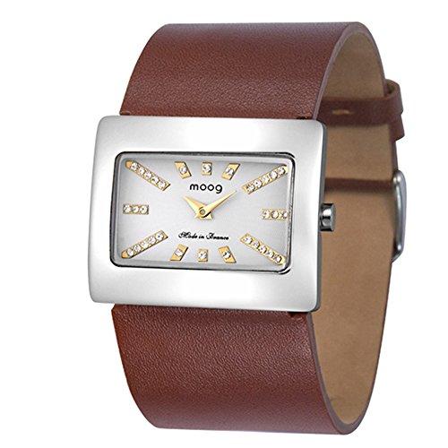 Moog Paris Supra Silber aus Edelstahl Armband Braun aus Echt Leder in Frankreich hergestellt M41642 105