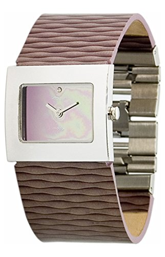 Moog Paris Sand Silber aus Messing Armband lila aus Echt Leder in Frankreich hergestellt M41511 007