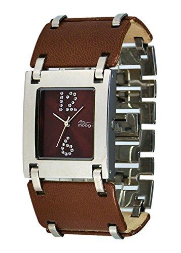 Moog Paris All in one Silber aus Edelstahl Armband Braun aus Mit Leder umfasster Stahl in Frankreich hergestellt M46072 002