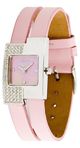 Moog Paris Off line Silber aus Edelstahl Armband helles rosa aus Kalbsleder in Frankreich hergestellt M44052F 004