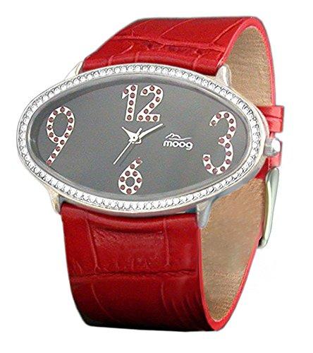 Moog Paris Egg Silber aus Edelstahl Armband Rot aus Kalbsleder in Frankreich hergestellt M44142F 012