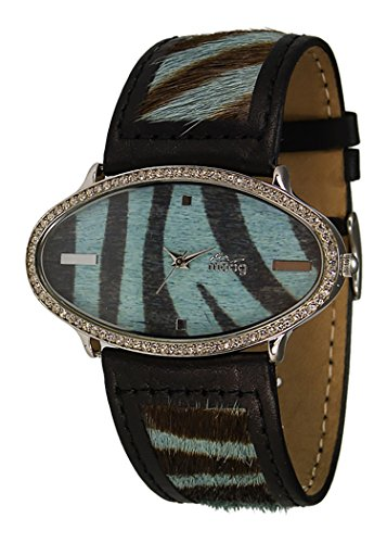 Moog Paris Safari Silber aus Edelstahl Armband Blau und schwarz aus Kalbsleder in Frankreich hergestellt M44146F 004