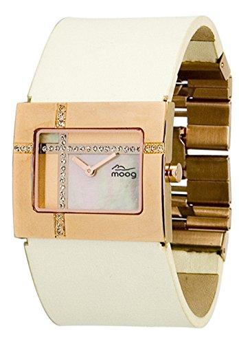 Moog Paris Mondrian Rosegold aus Edelstahl Armband perlweiss aus Kalbsleder in Frankreich hergestellt M44372F 008