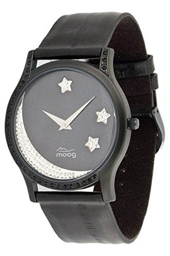 Moog Paris Twilight schwarz aus Edelstahl Armband schwarz aus Kalbsleder Halbmond Armdanduhr in Frankreich hergestellt M44394F 001