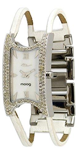 Moog Paris Island Silber aus Messing Armband weiss aus Kalbsleder in Frankreich hergestellt M44232 003