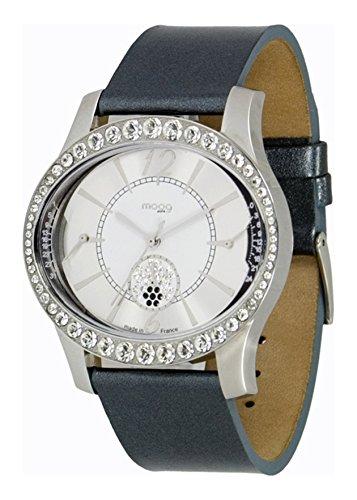 Moog Paris Anti Gravity Silber aus Edelstahl Armband Rosa aus Kalbsleder in Frankreich hergestellt M44862 003