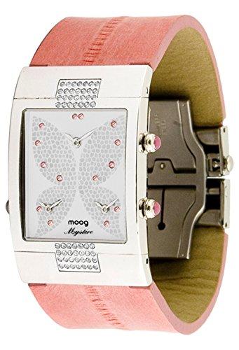 Moog Paris Papillon Silber aus Messing Armband Rosa aus Kalbsleder in Frankreich hergestellt M44404 104