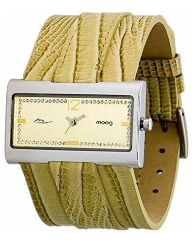 Moog Paris Miroir Silber aus Messing Armband natur aus Kalbsleder in Frankreich hergestellt M41491 007