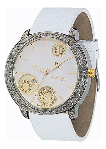 Moog Paris G power Silber aus Edelstahl Armband weiss aus Kalbsleder in Frankreich hergestellt M45022 104