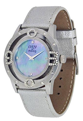 Moog Paris 0309 Silber aus Edelstahl Armband Silber aus Kalbsleder in Frankreich hergestellt M44762 102