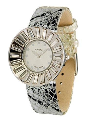 Moog Paris Sunshine Silber aus Edelstahl Armband Silber aus Kalbsleder in Frankreich hergestellt M45342 003