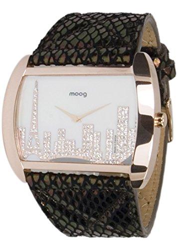 Moog Paris Skyline Rosegold aus Edelstahl Armband schwarz und rosegold aus Kalbsleder Paris Armbanduhr in Frankreich hergestellt M41882 002