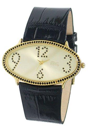 Moog Paris Egg Gold Ziffernblatt Armband schwarz aus Kalbsleder in Frankreich hergestellt M44142 003