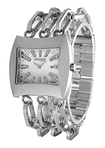 Moog Paris Vintage weiss Ziffernblatt Armband Silber aus Edelstahl in Frankreich hergestellt M45214 001