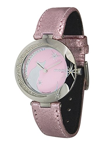 Moog Paris Lucille Rosa Ziffernblatt Armband Rosa aus Echt Leder Katz Armbenduhr in Frankreich hergestellt M44912 002