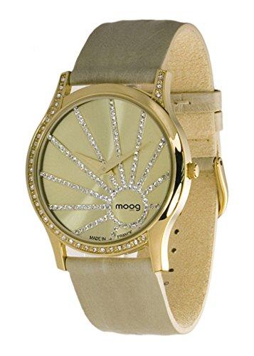 Moog Paris Eccentric mit Gold Zifferblatt Swarovski Elements Beige Armband aus Echtem Leder Hergestellt in Frankreich
