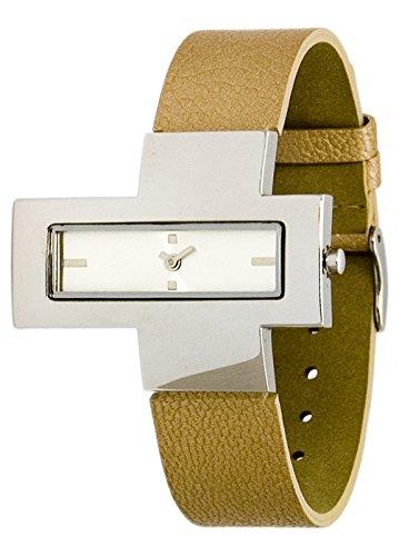 Moog Paris Grenouille weiss Ziffernblatt Armband Braun aus Echt Leder in Frankreich hergestellt M41531 005