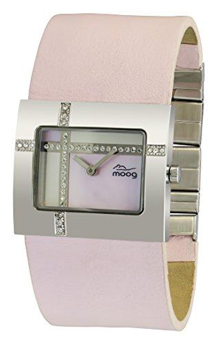 Moog Paris Mondrian mit Weissem Perlmutt Zifferblatt Swarovski Elements Rosanem Armband aus echtem Leder M44372F 001